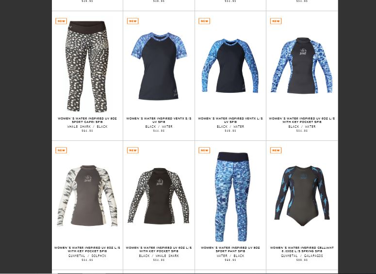 Screen shot of Xcel online shop for rash guards and wet suit gear to prevent chaffing and rashes when scuba diving.