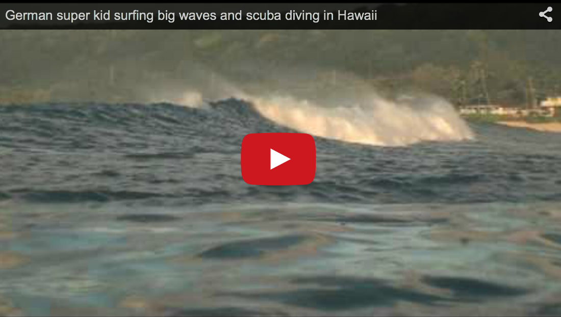 German super kid surfing big waves and scuba diving in Hawaii
